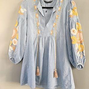 Zara Gingham Embroidered Dress/Tunic